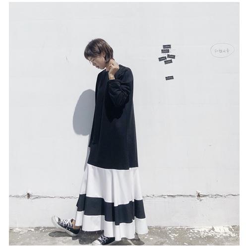 裾切り替え 長袖ワンピース1110235-0143