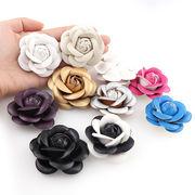 【激安 セール】1個 レザーカメリア 合皮バラ 革花flower ハンドメイド デコ用 髪飾り コサージュ
