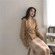 超人気  韓国ファッション  韓国風 秋冬 気質  無地   Vネック  ワイルド  セーター  カーディガン