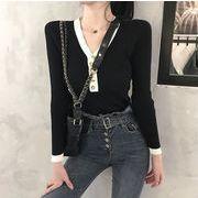 【大きいサイズXL-3XL】【秋冬新作】ファッションセーター♪ブラック/ホワイト2色展開◆