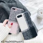 iPhoneXS MAX XR XS/X  スマホケースケース チェック柄 ふわふわ布地   耐衝撃 カバー