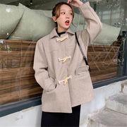 韓国 スタイル ファッション 2018 無地 カジュアル ダッフル ジャケット スタジャン アウター