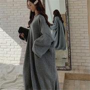 2018 秋 冬 韓国 スタイル ファッション 無地 ゆったり ニット 編み織 セーター ワンピース