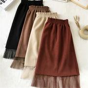 2018 秋 冬 韓国 スタイル ファッション レディース ゆったり 着まわしやすい 切り替え ハーフ丈 スカート