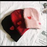 韓国 スタイル レディース ファッション小物 カジュアル ハート形 編み織 ニット 帽子