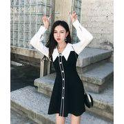 韓国ファッション  CHIC気質  秋冬物  縫付  スリム  ワンビース