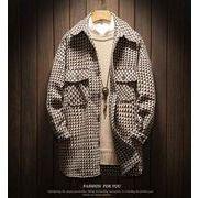 秋冬新作メンズコート♪チェック柄 トップス大きいサイズ おしゃれ♪ブラック/ブラウン2色
