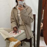 夏服 女性服 韓国風 新しいデザイン 風 単一色 ルース コーデュロイ 長袖シャツ カー