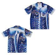 日本製 made in japanアロハシャツ 青 S 箔入 178272