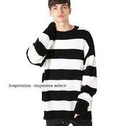 ニット ボーダー セーター ロング丈 ビッグサイズ 赤 黒 白 メンズ インプローブス 韓国