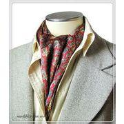 エレガントな袋縫いペーズリープリント柄入りメンズ用100%シルクスカーフ 10136b
