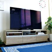 ◎テレビ台 ローボード 140cm幅 アルミ取っ手 オーク JTV-140OAK