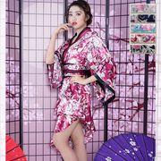 9021Aサテン和柄ロング着物ドレス  衣装 ダンス よさこい 花魁 コスプレ キャバドレス ハロウィン