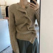 韓国風 ファッション 【秋冬新作】 無地 不規則 編み織 セーター ニット ジャケット