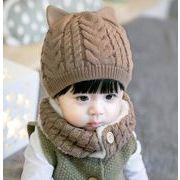 韓国風帽子★新しいスタイル★ふわふわ ニット 帽★キッズ 帽.+マフラー
