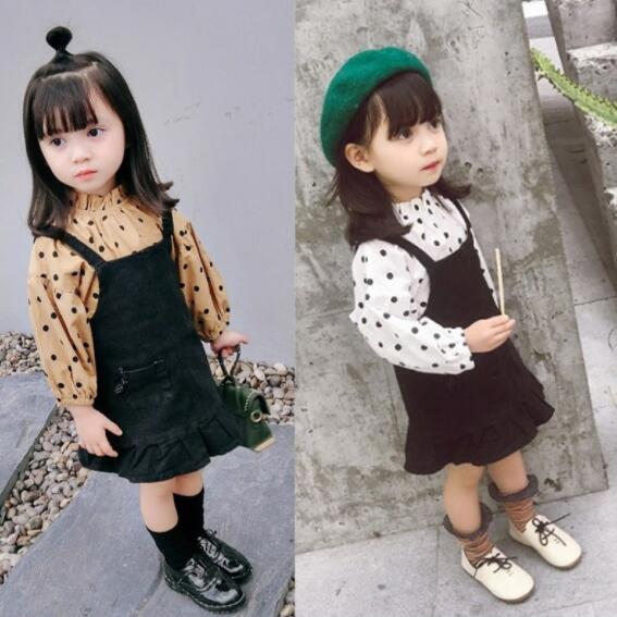 春秋 子供服 tトップス+スカート 女の子 セットアップ 2点セット ファッション 水玉