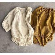★新作アパレル★子供 キッズ服★INS 綿麻 トップス+パンツ★キッズファッション★