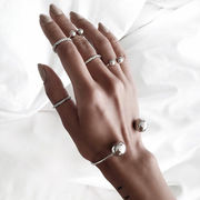 激安☆insメタル★腕飾り★腕輪 開口指輪★バングル★幾何学模様★ダングル★リング+バングル6枚セット