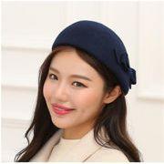 韓国 イギリスの帽子 秋冬 レトロ ウール 蝶結び ベレー帽 画家の帽子 【小顔効果】スチュワーデスの帽子