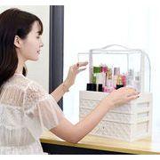 ★韓国人気商品!! 化粧品収納 収納ケース コスメボックス 高品質   大容量 取っ手付 ミラー付き