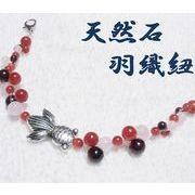 天然石 羽織紐 和装小物 帯飾り 金魚 カーネリアン ローズクォーツ 着物 ハンドメイド 日本製 HH