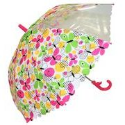 子どもが喜ぶキッズビニール傘 【ちょうちょ柄 シロ】 子ども傘 50cm