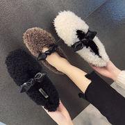 新しいデザイン 韓国風 ピーズ靴 女 ウインター リボン ファッション 何でも似合う ふ