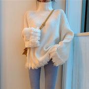 怠惰な ルース 手厚い ハイネック + T-ストラップ セーターの女性 秋冬 新しいデザ