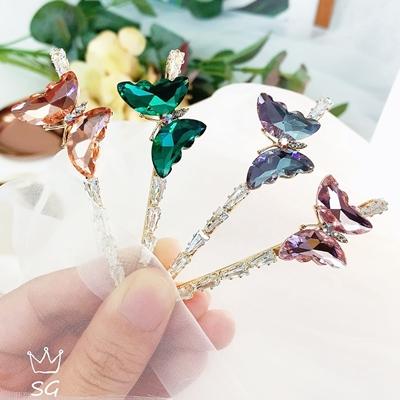 【即納】新作 高級ラインストーン 高品質 ヘアアクセサリー ヘアピン ブローチ   髪飾り 蝶