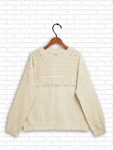 【春まで使えるコットン素材!透かし編みフリンジ使い綿ニット】