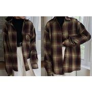 長袖シャツ 切り替え バイカラー 体型カバー チェック柄 シンプル カジュアル