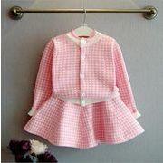 女児 千鳥格子 ニッティング セット 秋冬 新しいデザイン 韓国風 児童 洋室 セーター