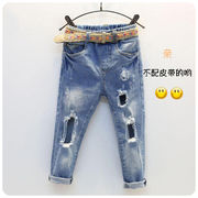 春 新しいデザイン 韓国風 パンツ キッズ洋服 女性のジーンズ 秋服 大 穴あき スリム
