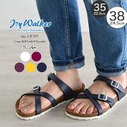 【joy walker】 レディースサイズ クロスベルト サンダル 5色