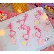 創意★ピンクキーチェーン★キーホルダー★バッグ飾り★桜★ハート★蝶結びストラップ★かわいい