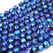 連 とんぼ玉 ホタルガラス 蓄光無ver ブルー 丸 8mm 品番: 10839