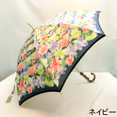 【日本製】【雨傘】【長傘】甲州産ほぐし織全面花柄日本製軽量金骨ジャンプ雨傘