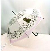 【雨傘】【長傘】【ビニール傘】POE乳白エレガントキャット柄ジャンプ傘