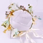 ウェディングヘッドドレス 花嫁 お花の冠 髪飾り