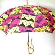 本数限定 高級晴雨兼用 日傘 UVカット加工 日本製 アフリカンファブリック (ピンク)