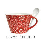 <AMANO>【マグカップ】フラワースープマグ・レッド(スプーン付き)