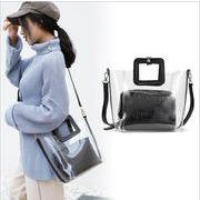 クロコデザインクリアバッグ ポーチ付き ショルダーバッグ ハンドバッグ 透明バッグ トートバッグ トレンド