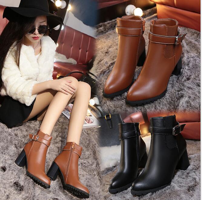 秋冬 シューズ 靴 ショートブーツ PU レザー ファッション 人気