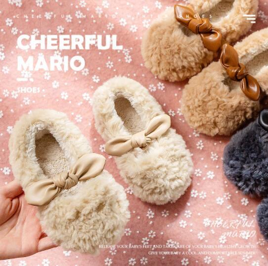 リッパ 子供 リボン 軽量 裏起毛 ボア 柔らかい 防寒 防滑 歩きやすい 脱ぎ履き簡単 暖かく