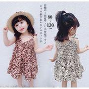 一部即納 2019夏 韓国風子供服 ティアードワンピース おしゃれ 可愛い ヒョウ柄レオパード ノースリーブ