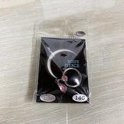 ボディピアス サージカルステンレス 316L 14ゲージ 12mm ドロップジュエル ピンク