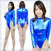 1208I▼MB■送料無料■ 長袖ハイネックレオタード(後ファスナー) 色:青 サイズ:M/BIG