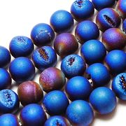 パーツ 素材 連 ドゥルージーアゲート 竜穴メノウ AB加工マット ブルー 10mm  品番: 11120