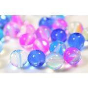 水晶色味加工 ガラスビーズ オーロラメッキ加工ビーズ 直径8mm