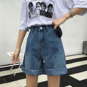 第1 番 女性服 韓国風 新しいデザイン ルース ハイウエスト デニム ショートパンツ